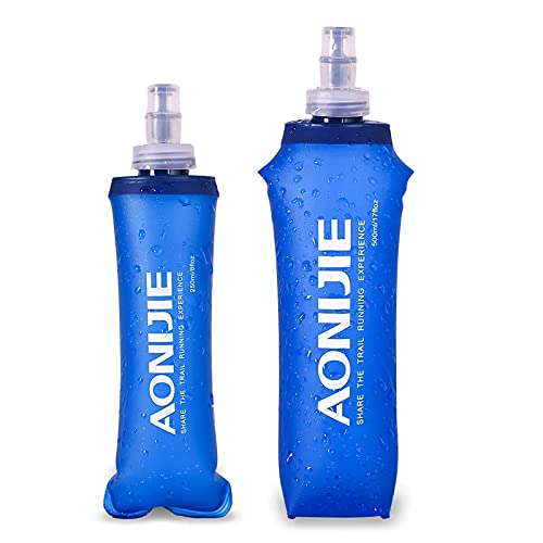 CWW Botellas De Agua Blanda Botella Flexible 500Ml Botella Plegable TPU Botella Suave Plegable Botella De Agua Sin BPA Botella De Frasco Suave Jaula para Trekking Trail Running