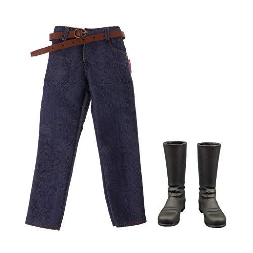 1/6 Figuur Klassieke Denim Jeansbroek En Zwarte Laarzen voor Heren van 12 Inch