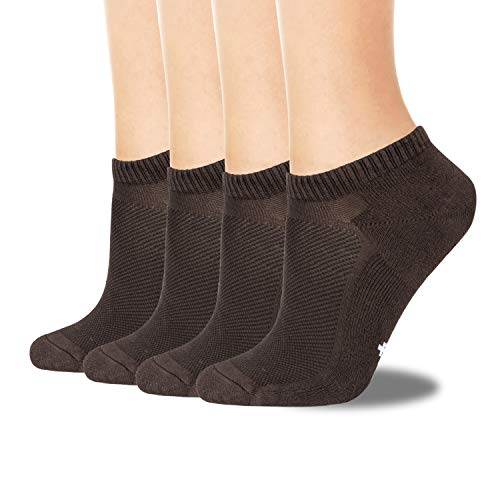 +MD 4 Pack Womens Bamboo No Show Socks Multicolor Smell Control Athletic Socks, with Cushioned Sole 4Coffe7-9