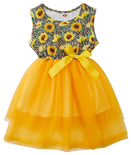 Sunflower Dress for Baby Girls 2-3 Years Sleeveless Swing Sundress with Bow Princess Tulle Tutu Skirts for Wedding Birthday Party