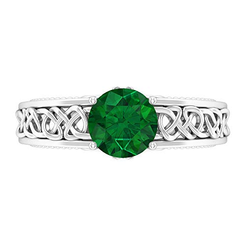 7 MM Solitaire Emerald Ring, Celtic Knot Engagement Ring, Solid Gold Wedding Band Ring, 14K White Gold, Emerald, Size:US 11.5