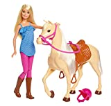 Barbie Doll, Blonde, Wearing Riding Outfit with Helmet, and Light Brown Horse with Soft White Mane and Tail, Gift for 3 to 7 Year Olds​​​​