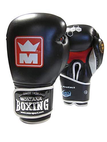Montana Gel Protect 3 Guantes de Boxeo Unisex, Unisex Adulto, Color Negro, tamaño 14 oz