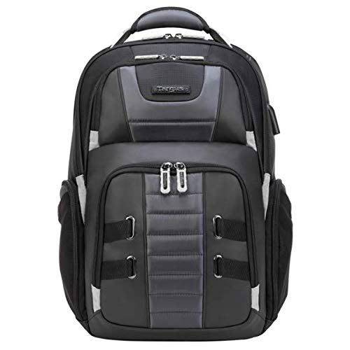 targus cool backpacks Targus DrifterTrek Laptop Backpack for Business Professional Travel with USB Charging Port, Weather Resistant, Hidden Zip Pocket, Protective Cradle fits 15.6-Inch Laptop, Black (TSB956GL)
