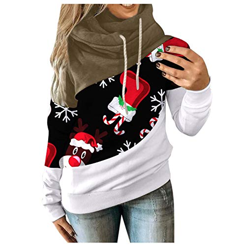 Briskorry Dames Kerstmis Casual Hoodie Kerstman Sneeuwman Print Capuchon Spliced Kleurblok Lange Mouwen Top Capuchon Sweatshirt Casual Blouse Trui