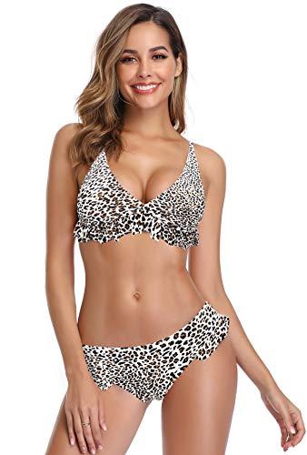 SHEKINI Mujer Bikini Sexy Traje de Baño de Dos Piezas Cintura Baja Pantalones de Baño Encaje (XL, Leopardo)
