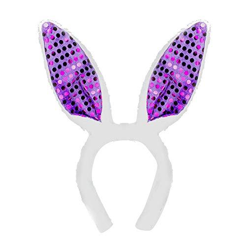 Dasongff Pluche haarband met pailletten voor Pasen, party, bruiloft, verjaardag, kinderen, kostuum, cosplay bonny haasjes oren decoratie, haarbanden hoofdbanden 1 PC paars