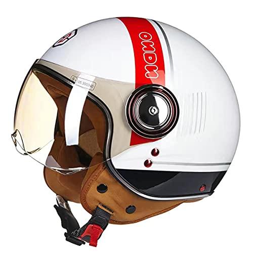 HYQW VIIPOO Casque De Moto Vintage ECE Homologado, Casco De Moto con Visiera, Retro Jet Casco para Temporadas Universal, Adult Unisexs, por Scooter Ciclomotor Bicicleta,C-XL 59~60cm