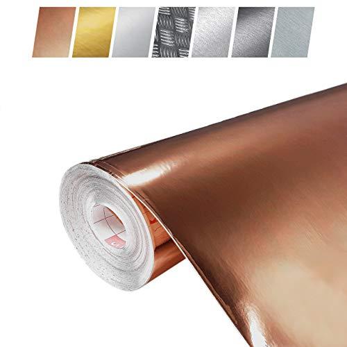 Decomeister Klebefolien in Kupfer-Optik Kupferblechlfolien Deko-Folien Kupferfolie Selbstklebefolie Möbelfolie Selbstklebend 45x240 cm Blechfolie Kupfer Metallic Hochglanz