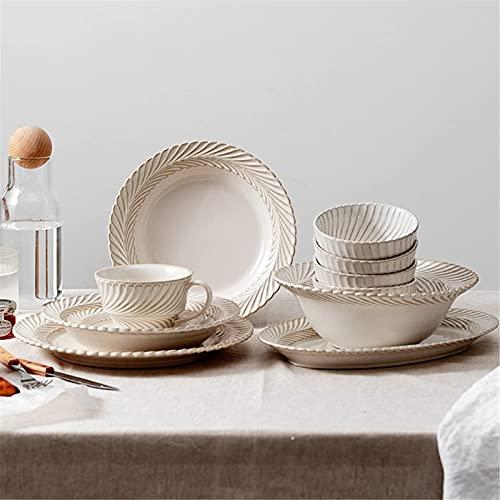 Vajilla Conjuntos de vajilla de 22 piezas, conjuntos de cenas de cerámica, conjunto de combinación de porcelana, conjunto de servicios de mesa elegante y romántica, platos / platos / tazas de café Mic