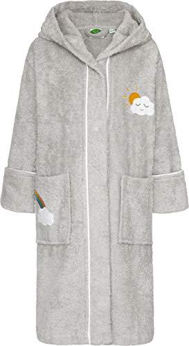 SSmithy® Kinder-Bademantel aus 100% Baumwolle – Schadstofffrei und Ökotex zertifizierter Baby Morgenmantel – mit Regenbogen und Wolken