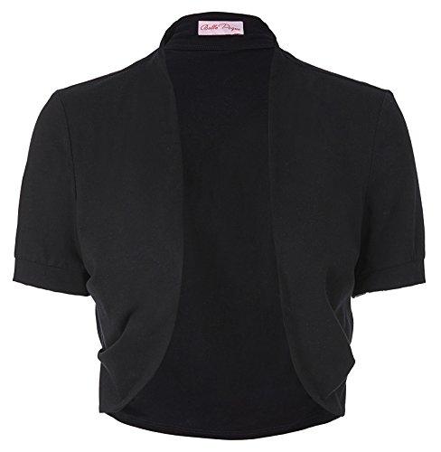 Black Short Sleeve Cropped Wedding Bolero Jacket Plain(XL,Black)