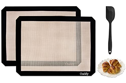 Ouddy 2 Set,Tappetino da Forno in Silicone Riutilizzabile, Antiaderente, Antiscivolo, Resistente al Calore