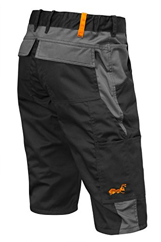 strongAnt® - Männer Arbeitshose kurz Shorts Berlin Sommer YKK Reisverschluß - Kermen - Größe: 50. Farbe: Schwarz-Grau