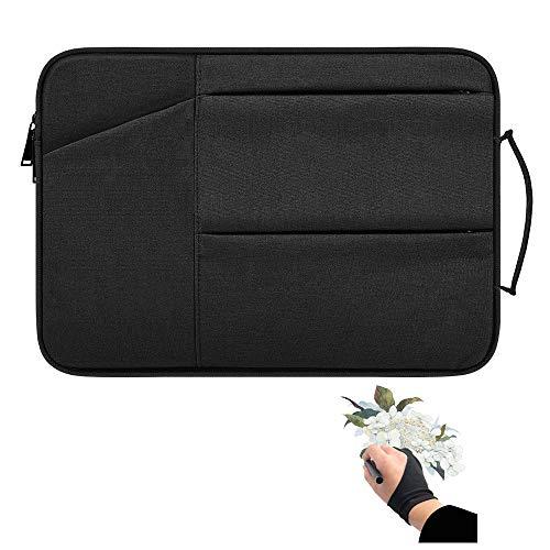 Funda para tablet de dibujo con guante de artista, funda de almacenamiento compatible con Xp-pen Deco 01, Star 03, Ugee M708, GAOMON M106K, Huion H950P, HS610 (negro)