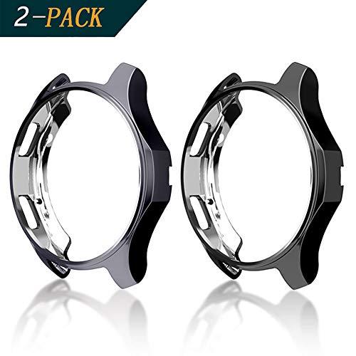 Cerike Hülle für Samsung Gear S3 /Galaxy Watch 46mm[2-Stück], Soft TPU vernickelt [Kratzfest] All-Around Schutzhülle für Samsung Gear S3 Frontier SM-R760 /Galaxy Watch 46mm SM-R800(46mm, Schwarz/grau)