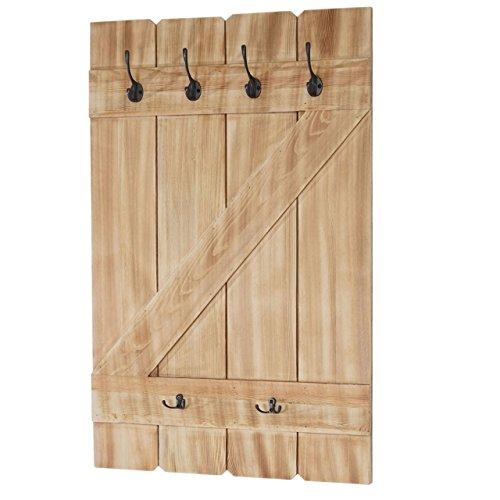 Mendler Wandgarderobe HWC-D13, Garderobe Garderobenpaneel, 6 Haken 91x60cm ~ Kiefer