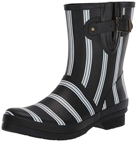 Chooka womens Mid-height Printed Rain With Memory Foam Mid Calf Boot, Smart Stripes Black, 7 US