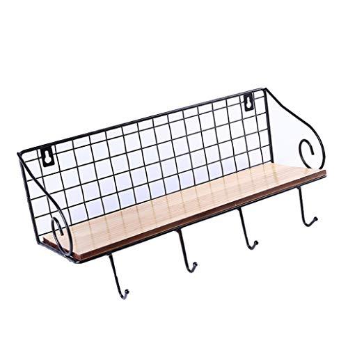 KangJZ Hogar Perchas Montado en la pared gancho de la capa, de múltiples funciones de la pared de almacenamiento en rack Adecuado for su Clave Monedero sombrero Perchas Pasillo Muebles 40 * 13 * 13cm