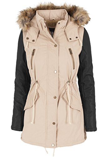 Urban Classics Damen Jacke Jacke Leather Imitation Sleeve Parka mehrfarbig (Sand/Blk) Small