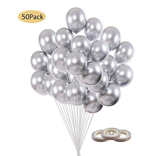 Luftballons Silber, Helium Luftballons Silber, 50 Stück Luftballons Metallic Silber Hochzeitsballons Silber Latex Ballon Metallballon Partyballon für Baby Shower Geburtstag Party Silber hochzeit deko