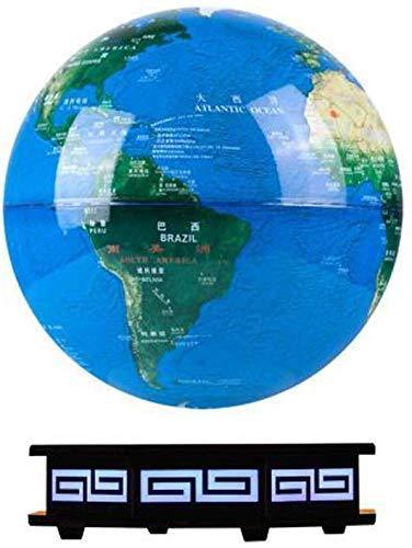 BD.Y Globo, Globo terráqueo Globo de levitación magnética Transmisión inalámbrica Control táctil 8'Globo Azul Plataforma Negra Decoración LED Luz Nocturna Creativa (Luz Azul)