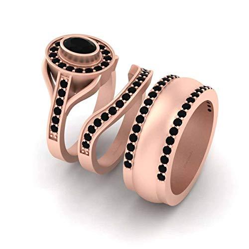 Anillo de compromiso de plata de ley 925 de 1,45 quilates de oro rosa con halo de diamantes negros