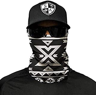 Sa Company Face Shield Micro Fiber Protect from Wind, Dirt and Bugs. Worn as a Balaclava, Neck Gaiter & Head Band for Hunting, Fishing, Boating, Cycling, Paintball and Salt Lovers. - Aztec B&W