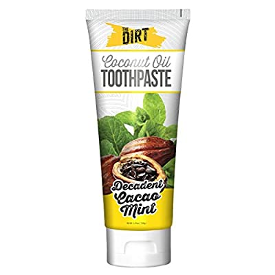 The Dirt Cacao Mint Coconut Oil Toothpaste | All Natural with Essential Oils, MCT Oil, Fluoride Free | Cacao Mint 6 Month Supply