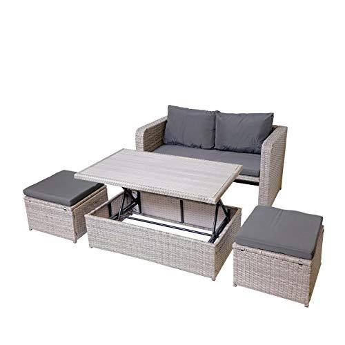 Mendler Poly-Rattan Garnitur HWC-G78, Balkon-/Garten-/Lounge-Set Sofa Sitzgruppe, Platzwunder ~ grau, Kissen dunkelgrau