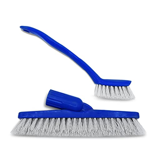 Clean-EEZ Grout Brush Combo Kit - Stand Up & Handheld V Shaped Grout Cleaning Brushes - Curled Bristles to Lift More Grease & Grime Than The More Common Hard Straight Bristles