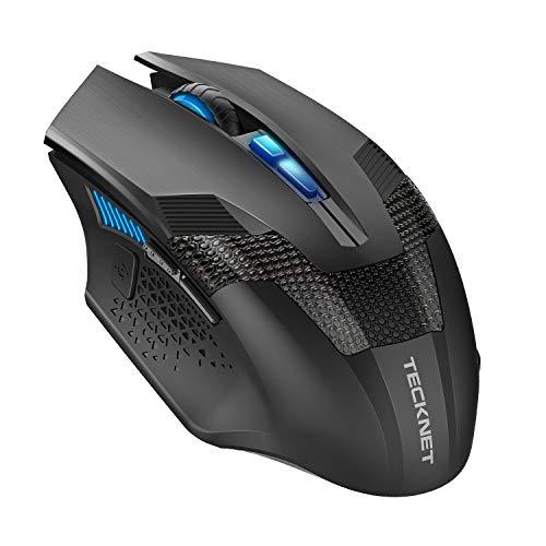 TECKNET Professional Optische programmierbare Wireless Gaming Mouse mit USB Nano Empfänger, Premium 4800DPI Sensor, 8 Tasten, fortschrittliches ergonomisches Design, extra Gewicht Präzision