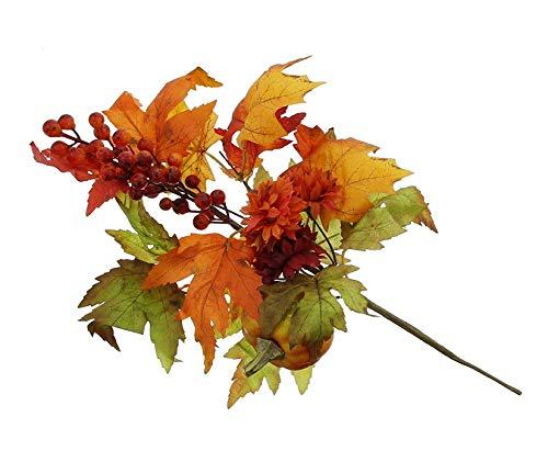 Dekzweig Herbst mit Kunstbeeren + Kürbis, ca. 42 cm lang, Gartenstecker, Gartensticker Kunstzweig, künstlicher AST
