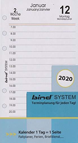 BIND B260320 - Kalendereinlage für Tageskalender A6 - Jahr 2020, 1 Tag / 1 Seite, Terminkalender mit System