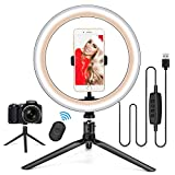 10.2' Ring Light with Stand & Phone Holder and Remote Control, Dimmable Desk Makeup Selfie LED RingLight Perfect for Live Streaming/YouTube/Video Recording/Photography, Compatible with iPhone/Android