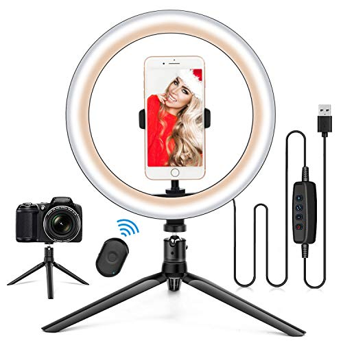 10.2' Ring Light with Stand & Phone Holder and Remote Control, Dimmable Desk Makeup Selfie LED...