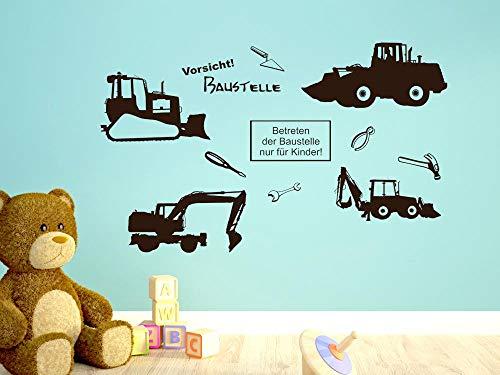 GRAZDesign muurtattoo bouwplaatsset - wandsticker wanddecoratie jeugdkamer jongen graafmachine werktuig / 770037 062, lichtgroen