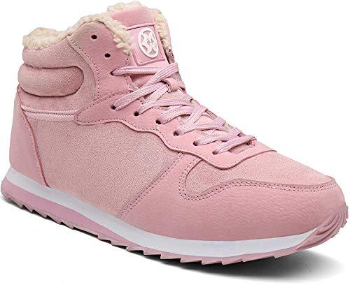 Gaatpot Męskie buty zimowe damskie, śniegowce, wysokie sneakersy z ciepłą podszewką, sznurowane buty 35-47EU, różowy - różowy - 41.5 EU
