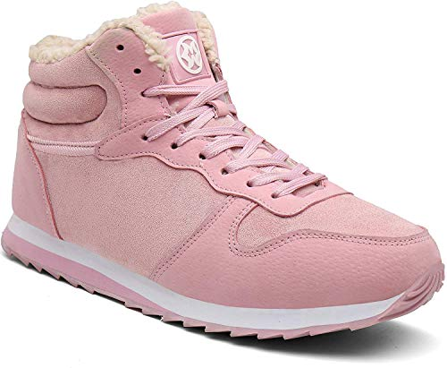 Gaatpot Herren Damen Winterschuhe Schneestiefel Winter Hohe Sneakers Warm gefütterte Leder Schnür Stiefel Boots Schuhe Pink 41.5EU=43CN