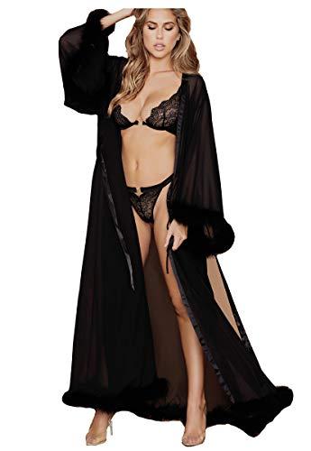 ShineGown Damen Sexy Feder Robe Perspektive Schier Seidenchiffon Dessous Extra Langer Bademantel mit Pelzbesatz Nachthemd Pyjamas Nachtwäsche