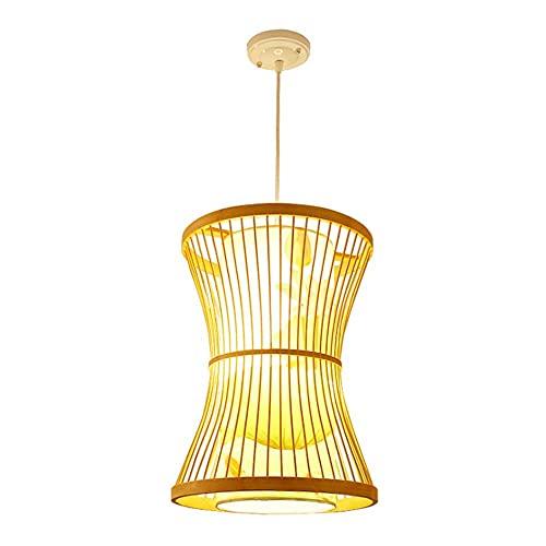 XCY Iluminación Decorativa, Lámpara de Araña de Bambú Tejida a Mano de Estilo Chino, Pantalla de Piel de Oveja Sintética Estampada, Luces Decorativas Creativas para el Hogar, Luz Colgante de 30 cm de
