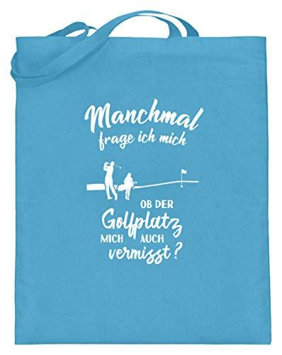 shirt-o-magic Golf: Ob der Golfplatz mich vermisst? - Jutebeutel (mit langen Henkeln) -38cm-42cm-Hellblau