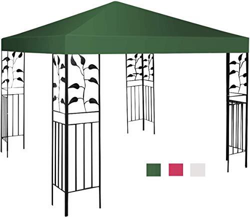 RELAX4LIFE Pavillondach Polyester, Ersatzdach für Pavillon, Pavillonplane wasserabweisend, Dachabzug UV-Schutz, Kaminabzug Farbwahl, Dachplane Gute Luftzirkulation, 3 x 3 m (Grün)