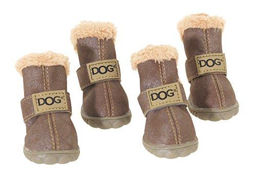 CHAPUIS SELLERIE Set de 4 Chaussures en PVC pour Chien Chocolat Taille 2