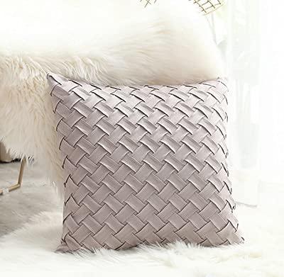 DUKAILIN Funda de cojín para sofá de color rosa macizo, color gris, suave, falso para decoración del hogar, modo trenzado, 45 x 45 cm, 30 x 50 cm, 1 unidad de 30 x 50 cm, color gris claro