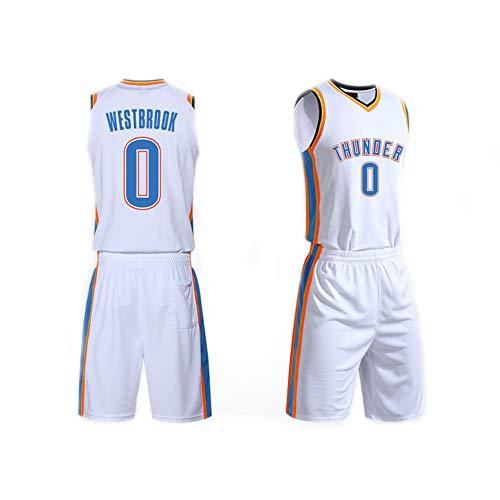 Maglia da Basket da Uomo Set Top+Pantaloncini,Russell Westbrook # 0 NBA Oklahoma City Thunder,Maglia Senza Maniche in Tessuto Sportivo Senza Maniche T Shirt Fans Camicie,Bianca,3XS