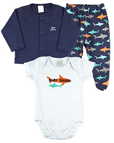 Conjunto Bebê Menino Suedine Estampado e Liso 3 Peças Tubarões Baby Shark - Marinho M