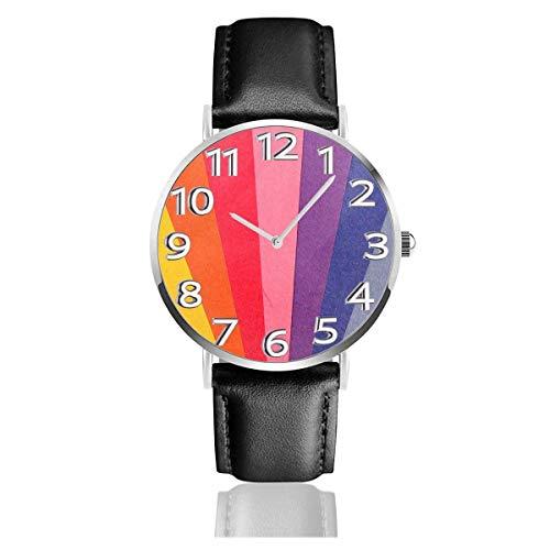 Reloj de Cuero Natural Colorido del Arco Iris Relojes de Pulsera Unisex Diseño Fresco Resistencia a los arañazos Reloj de Cuarzo Relojes Ligeros de Uso Casual