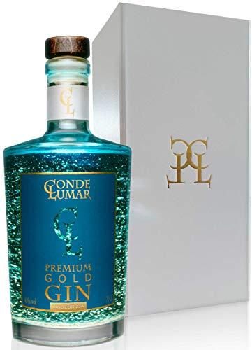 Premium Gold Gin - Liqueur 23k - Frutas Cítricas del Mediterráneo - Gin Tonic Para Regalar - 15 Botánicos 5 Destilaciones - Set con Caja Estuche de Regalo y Certificado del Oro de 23K - 40%