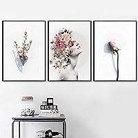 北欧の壁アートガールバタフライローズフラワーラブキャンバス絵画ポスターとプリント写真リビングルームの装飾(70x100cm)X3ノーフレーム